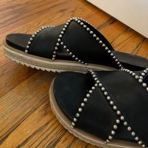 Zara Shoes - Zara Studded Leather Espadrille Slides